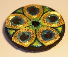 N e e d l e p r i n t: Elena's Stunning Peacock Eye Mirror