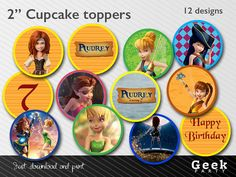 "Tinker Bell and the Pirate Fairy 2"" Cupcake toppers / Stickers - Printable - Zarina - Silvermist - Fawn - Tinker Bell"