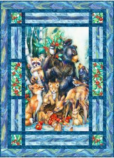Season of Peace Free Pattern: Robert Kaufman Fabric Company Big Block Quilts, Quilt Blocks, Fabric Panel Quilts, Baby Quilt Panels, Quilting Fabric, Fabric Panels, Peacock Quilt, Wildlife Quilts, Quilting Projects