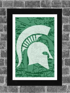 Michigan State Spartans State Map Print Art 11x17 on Etsy