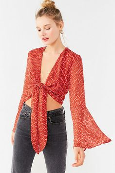 Slide View: 1: UO Tie-Front Bell-Sleeve Cropped Top