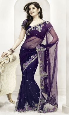 Purple and Blue Net Saree