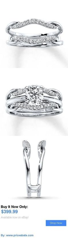 Wedding rings: Solitaire Diamond Enhancer Engagement Ring 1/5 Ct Round Cut 14K White Gold BUY IT NOW ONLY: $399.99 #priceabateWeddingrings OR #priceabate