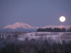Moon over Mt. Katahdin, Maine