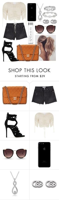 """""""Unbenannt #813"""" by l-m-l-1 ❤ liked on Polyvore featuring Chanel, Frame, Giuseppe Zanotti, Rebecca Taylor and Gucci"""
