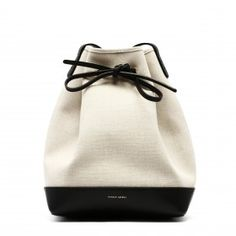 Creme canvas bucket bag