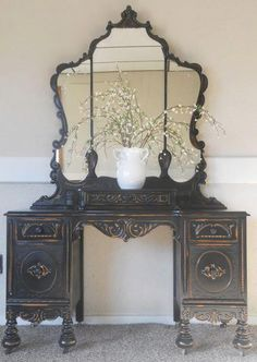 Painted Vanity - Black / Gold Discount Furniture, Entryway Tables, Buffet, Antique Furniture, Antiques, Storage, Cabinet, Home Decor, Antiquities