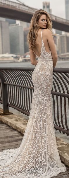 berta spring 2018 bridal spaghetti strap deep plunging sweetheart neckline full embellishment sexy elegant fit and flare wedding dress open scoop back chapel train (6) bv -- Berta Spring 2018 Wedding Dresses