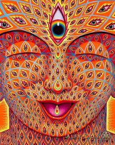 Alex Grey Signed Tears of Joy Giclee Print 503277327111023744 Tears In Eyes, Tears Of Joy, Alex Grey Tattoo, Alex Gray Art, Grey Art, Lsd Art, Sacred Geometry Tattoo, Painting Snow, Visionary Art