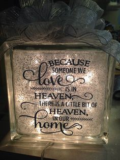 Lighted Glass Cube with sympathy quote by ChateauRenu on Etsy