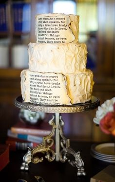 Wedding Themes A novel cake. From: How To Have The Best Literary Wedding Ever - Wedding bells and book lovers, best combination ever. Themed Wedding Cakes, Wedding Cake Toppers, Themed Cakes, Wedding Themes, Wedding Ideas, Wedding Stuff, Wedding Planning, Wedding Venues, Wedding 2015