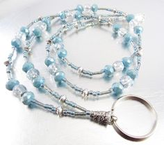 Light Blue Grey Czech Glass and Light Blue Crystal Glass Beaded ID Lanyard, Badge Holder, Eyeglass Leash by mmojewelry on Etsy