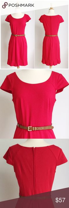 ⭐️NWOT⭐️ ModCloth Belted Red Dress Dress has never been worn. It has a rear zipper enclosure and shiny tan belt. The bust measurement is approximately 18 inches across from armpit to armpit and the length is approximately 37.5 inches. The waist is approximately 15 inches across laying flat. It is fully lined and the fabric content is 85% rayon 10% polyester and 5% spandex. ModCloth Dresses Midi