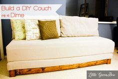 Learn how to make a DIY couch that makes out to a bed for guests. Little Green Bow is a DIY lifestyle blog that helps you craft a life you LOVE.