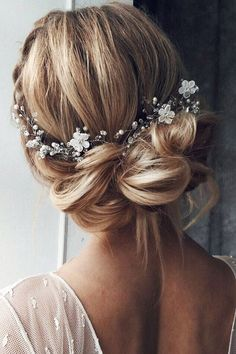 Loose back up-do with beaded hair piece
