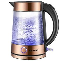 Electric Kettle, EPLIANS LED-Lit Fast Water Boiler, Quick-Boil Glass Tea Kettle with Atmospheric. in Kitchen & Dining in Kitchen & Dining > Coffee, Tea & Espresso > Electric Kettles Pour Over Kettle, Commercial Cleaners, Water Boiler, Plastic Ware, Breakfast Bar Kitchen, Water Solutions, Heating Element, Led, Ceramic Pottery