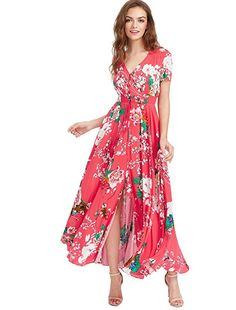 4eea8ee91337a8 Milumia Women's Button up Split Floral Print Flowy Party Maxi Dress Medium  Multicolor-Floral-Red
