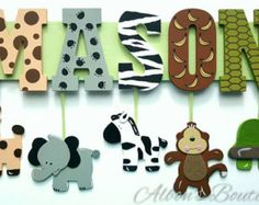 Safari Name Sign Personalized with your Child's by AlbonsBoutique