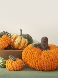 I love the texture on these pumpkins! They would look great in natural colors as well. Pumpkins | Yarn | Free Knitting Patterns | Crochet Patterns | Yarnspirations