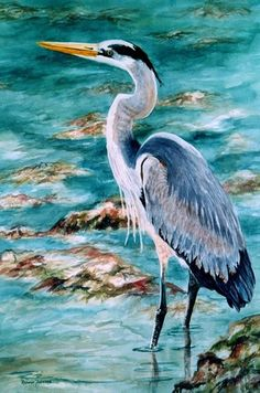 ACEO Great Blue Heron watercolor print by Roxanne Tobaison