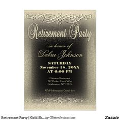 Retirement Party | Gold Shimmer Card Modern and elegant retirement party…