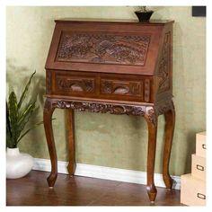 Hand Carved Secretary Desk
