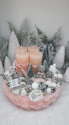 Rose Gold Christmas Decorations, Christmas Centerpieces, Pink Christmas, Winter Christmas, Christmas Time, Christmas Crafts, Christmas Ornaments, Christmas Candle Holders, Candle Arrangements