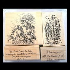 stampin up Heavenly Peace 2006 Make Your Own Card, Birth Of Jesus, Christmas Settings, Kids Cards, Heavenly, Stampin Up, Stamps, Greeting Cards, Mary