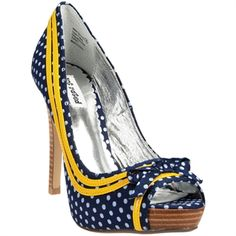 love polka dots... and i love yellow & blue but I could never walk in these heels!  Would make an adorable wedge though....