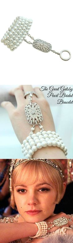 The Great Gatsby Pearl Bridal Bracelet! Click The Image To Buy It Now or Tag… Great Gatsby Dresses, Gatsby Theme, Great Gatsby Wedding, The Great Gatsby, 1920s Wedding, Gatsby Look, Gatsby Style, Bridal Bracelet, Bridal Jewelry