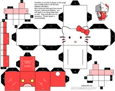 free printable craft templates | ... Paper Toy papertoy Hello Kitty template preview Cubeecraft Hello Kitty