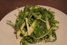 Watercress and apple salad - add chicken and manchego cheese to this and it's perfect!
