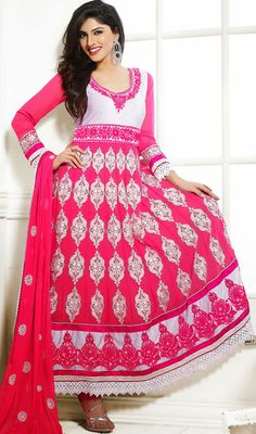 Ooze charm and grace by sporting this off white and pink georgette embroidered long Anarkali suit. This stunning attire is showing some great embroidery done with lace, patch, resham and stones work. Long Anarkali, Anarkali Suits, Georgette Dresses, Churidar, Dress Collection, Off White, Stones, Sari, Fancy