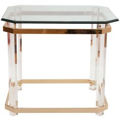 Charles Hollis Jones Lucite, Brass and Glass Side and Coffee Table, circa 1970s