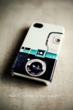 iPhone 4 Case - Vintage Camera Print, Diana- F camera -  The Lady - iPhone 4s hard case, teal, charcoal grey, retro inspired,. $35.00, via Etsy.