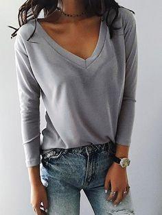 Casual V Neck Solid Color Loose Top