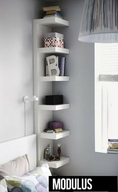 Bedroom Storage Ideas - small bedroom design ideas and home staging tips for small rooms Maximize Small Space, Small Space Solutions, Wall Shelf Unit, Ikea Wall Shelves, Shelf Units, Small Wall Shelf, Ikea Shelving Unit, Hidden Shelf, Open Shelving