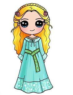 Kawaii Girl Drawings, Cute Animal Drawings Kawaii, Cute Cartoon Drawings, Cute Disney Drawings, Cute Easy Drawings, Disney Princess Drawings, Cute Girl Drawing, Cartoon Girl Drawing, Kawaii Disney