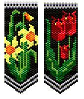 Daffodils & Tulips Flower Panels Pattern.   Daffodils & Tulips - Spring flowers glow against a black background. Stitch as a pin, add ribbon for a bookmark, mini amulet purse, stitch around a bic stic pen. These panels are the same size and use the same background & leaf colors as my Iris & Roses Ornament pattern & can be used interchangeably with those panels - item 4865. Large Color Patterns/Charts. No stitch or other instructions included.  Project Type: Bead Stitch: peyote