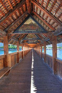 Chapel Bridge ~ Lucerne, Switzerland. I've been there, very nice.