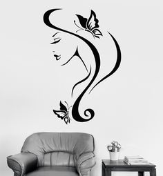 Vinyl Wall Decal Sexy Girl With Hair And Butterfly Spa Salon Decor (z3238)