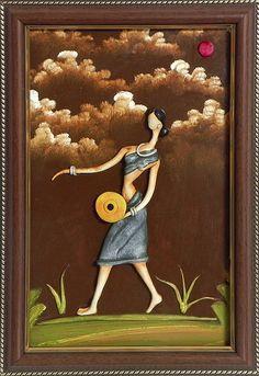 Vaishnavi Playing Mridangam - Wall Hanging (Poly Resin on Hardboard) Kerala Mural Painting, Indian Art Paintings, European Paintings, Clay Wall Art, Mural Wall Art, Murals, Phad Painting, Clay Art Projects, Diy Projects