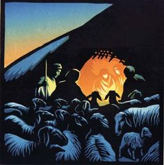 Shepherds at the Stable (Through the Animals Eyes - Nativity Story) - Linocut  by Chris Wormell