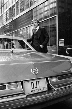 """Donald Trump """"getting into his Cadillac to begin a day of real estate deals,"""" was the original caption of this 1976 photograph."""