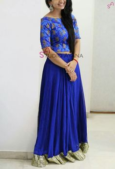 Blue skirt with top Dress Indian Style, Indian Dresses, Designer Silk Sarees, Designer Dresses, Womens Western Wear Dresses, Traditional Skirts, Blouse Designs, Dress Designs, Soft Silk Sarees