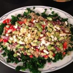 Kale, Quinoa, and Avocado Salad with Lemon Dijon Vinaigrette Allrecipes.com. I didn't use feta or peppers but added tomatoes and used less olive oil. It was incredible!