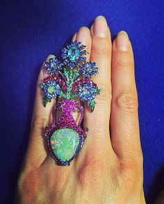 Lydia Courteille Blue Flower Opal Ring