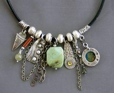 Mirinda Kossoff - charm necklace; fine silver, sterling silver, amazonite, coral