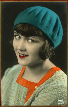 Flapper tinted postcard