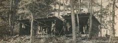 A circa 1927 postcard of Adirondack cabins on Phillips Island at Camp #Yawgoog.